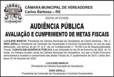 Secretário da Fazenda avaliará o cumprimento das Metas Fiscais do 3º quadrimestre de 2019